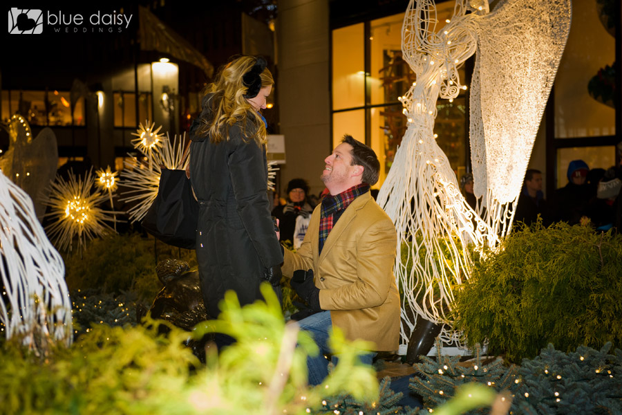 Christmas proposal at rockefeller center new york