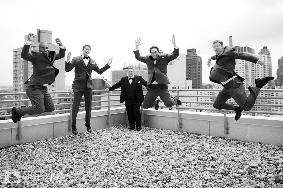 Upper East Side Manhattan bridal party jumping