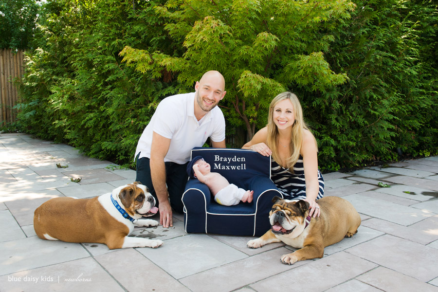 Family Portrait With Newborn Baby And Dogs