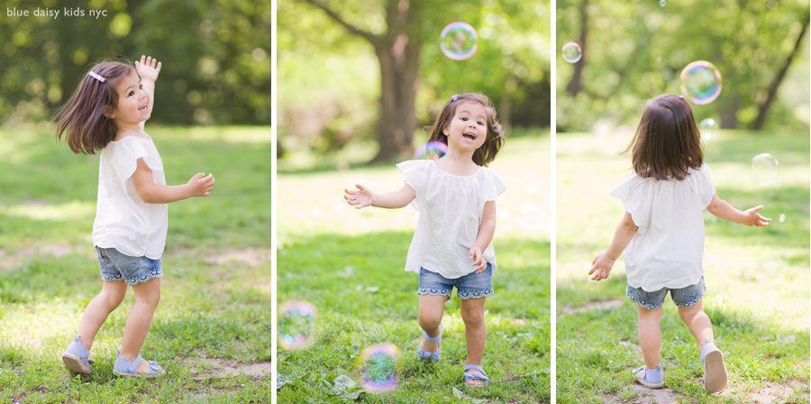 toddler and bubbles in Central Park NYC