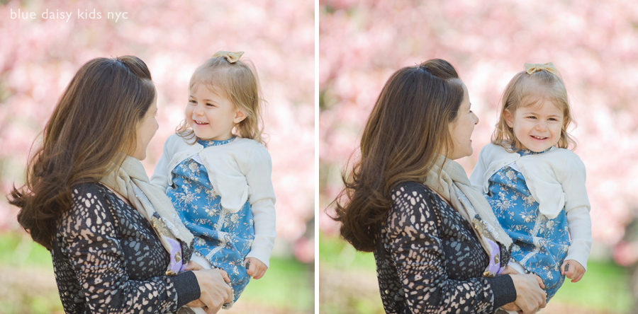 Spring family portraits in Central Park during cherry blossoms