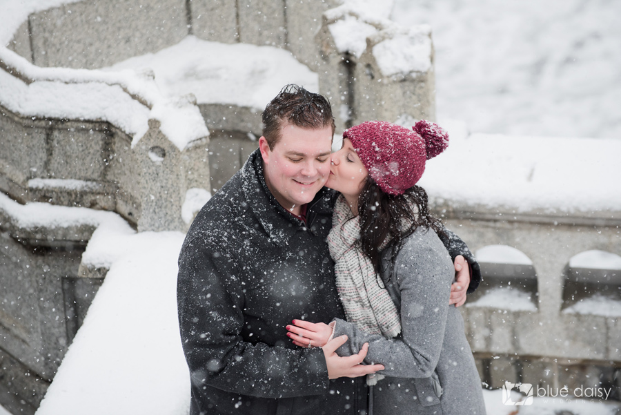 winter engagement portraits Belvedere Castle NYC